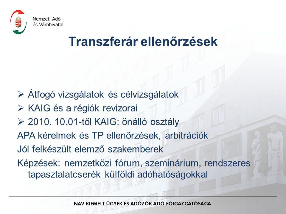 Transzferár ellenőrzések  Átfogó vizsgálatok és célvizsgálatok  KAIG és a régiók revizorai  2010. 10.01-től KAIG: önálló osztály APA kérelmek és TP
