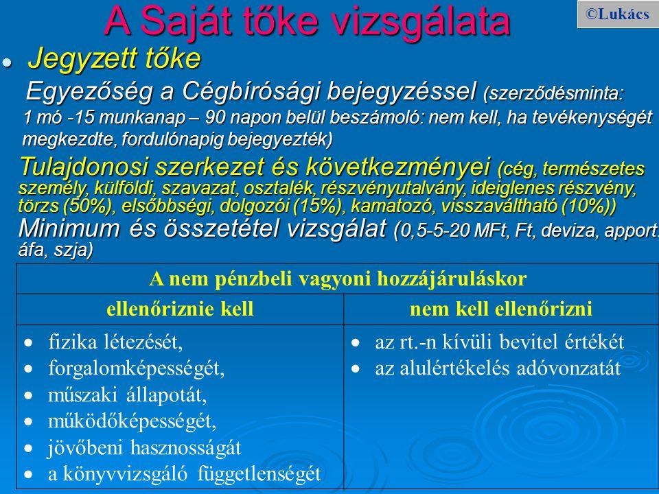 ©Lukács A Saját tőke vizsgálata Jegyzett tőke Jegyzett tőke Egyezőség a Cégbírósági bejegyzéssel (szerződésminta: Egyezőség a Cégbírósági bejegyzéssel