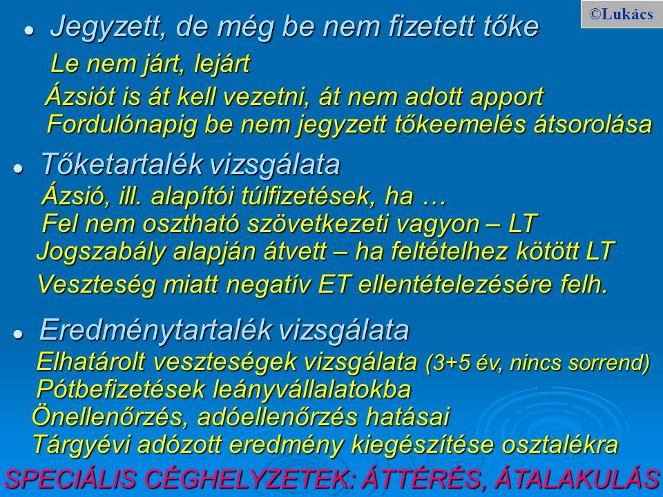 ©Lukács Jegyzett, de még be nem fizetett tőke Jegyzett, de még be nem fizetett tőke Le nem járt, lejárt Le nem járt, lejárt Ázsió, ill. alapítói túlfi