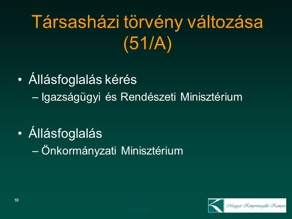 Társasházi törvény változása (51/A) 18 Állásfoglalás kérés –Igazságügyi és Rendészeti Minisztérium Állásfoglalás –Önkormányzati Minisztérium 2010.06.2