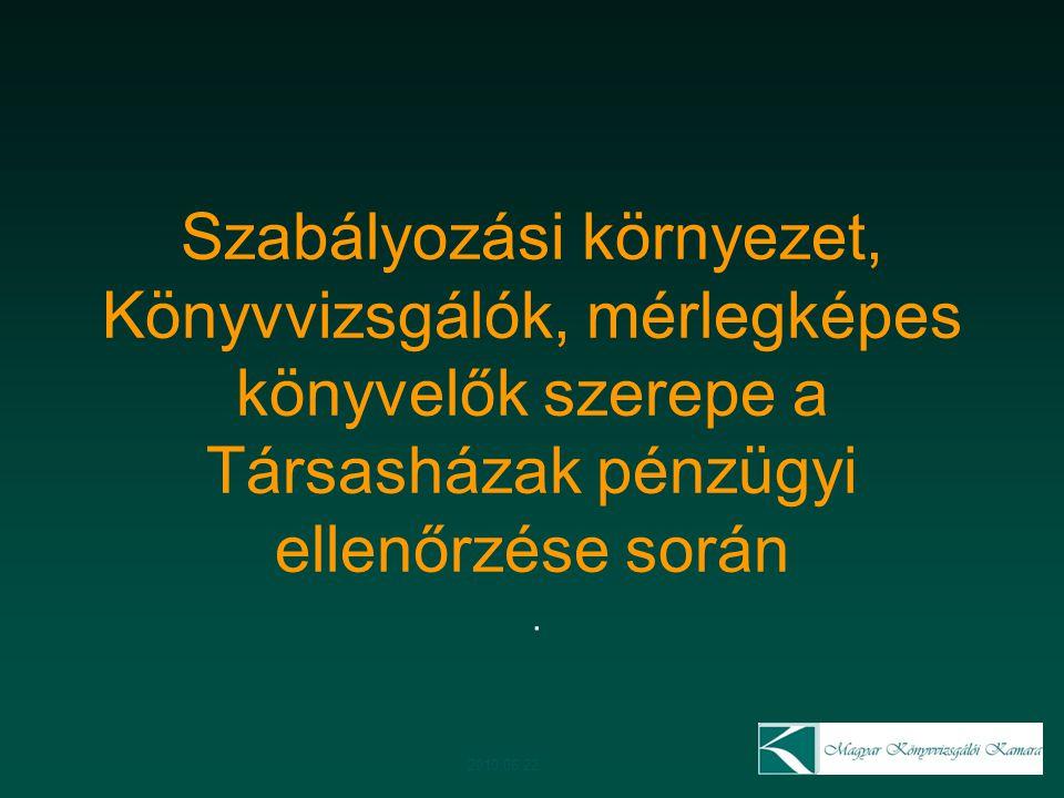 24 Gazdasági ellenőrzést segítő személy Összeférhetetlenség Nem végezheti a társasház könyvelést Meg kell maradnia az ellenőrzést támogató, ellenőrzést végző funkciónál 2010.06.22.