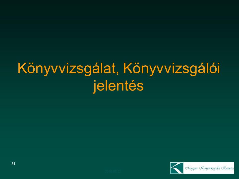 31 Könyvvizsgálat, Könyvvizsgálói jelentés 2010.06.22.