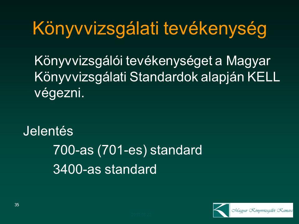 35 Könyvvizsgálati tevékenység Könyvvizsgálói tevékenységet a Magyar Könyvvizsgálati Standardok alapján KELL végezni. Jelentés 700-as (701-es) standar