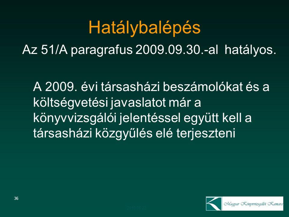 36 Hatálybalépés Az 51/A paragrafus 2009.09.30.-al hatályos. A 2009. évi társasházi beszámolókat és a költségvetési javaslatot már a könyvvizsgálói je