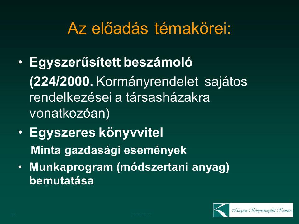 Az előadás témakörei: Egyszerűsített beszámoló (224/2000. Kormányrendelet sajátos rendelkezései a társasházakra vonatkozóan) Egyszeres könyvvitel Mint