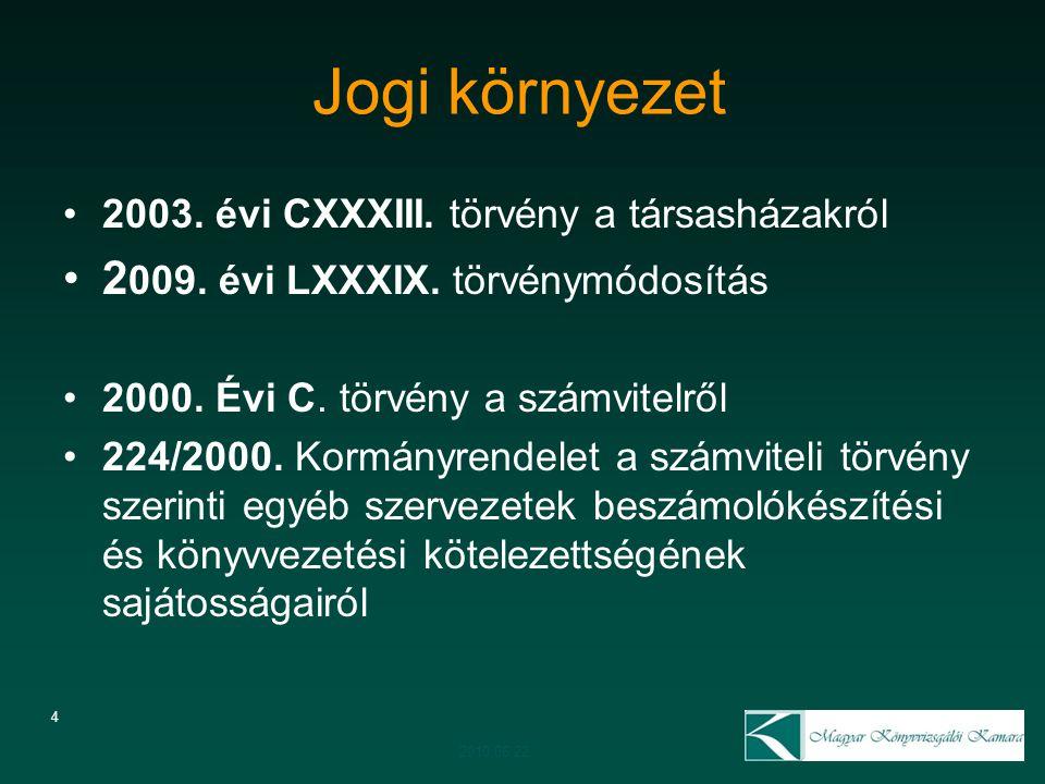 4 Jogi környezet 2003. évi CXXXIII. törvény a társasházakról 2 009. évi LXXXIX. törvénymódosítás 2000. Évi C. törvény a számvitelről 224/2000. Kormány