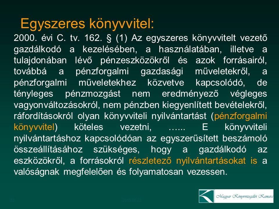Egyszeres könyvvitel: 2000. évi C. tv. 162. § (1) Az egyszeres könyvvitelt vezető gazdálkodó a kezelésében, a használatában, illetve a tulajdonában lé