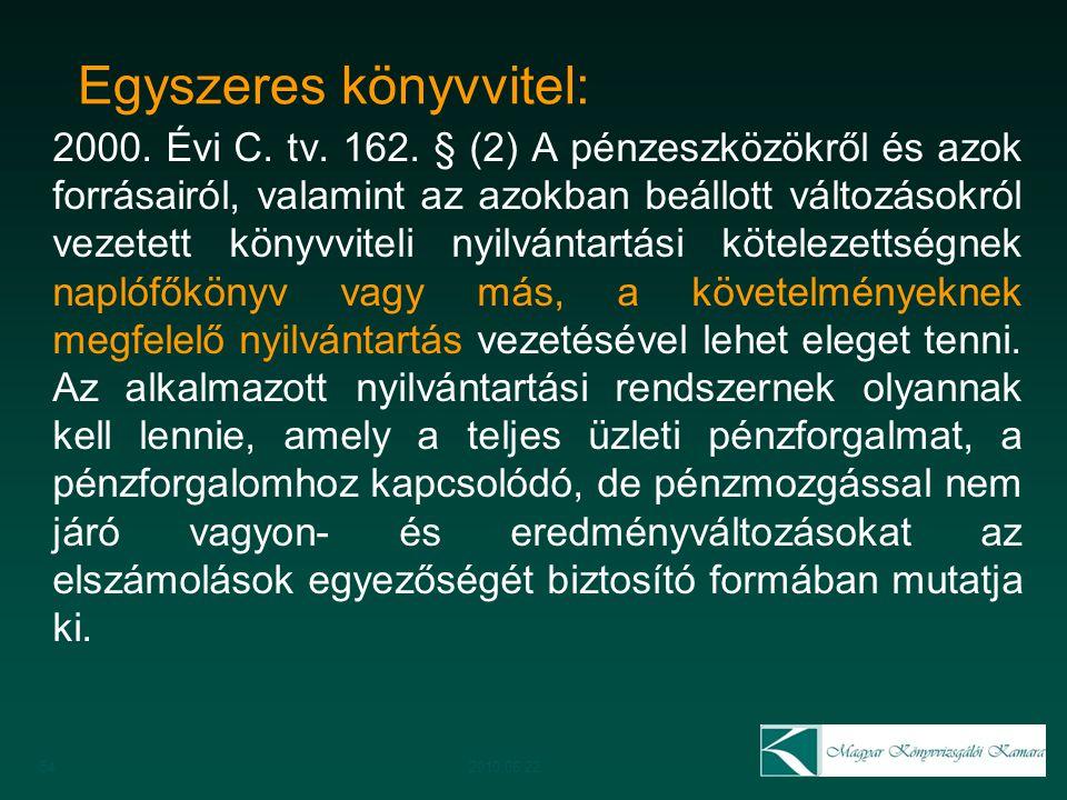 Egyszeres könyvvitel: 2000. Évi C. tv. 162. § (2) A pénzeszközökről és azok forrásairól, valamint az azokban beállott változásokról vezetett könyvvite