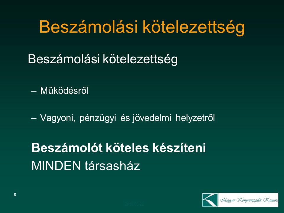 Társasházi törvény változása (51/A) 17 Törvénymódosítási javaslatot nem kapta meg a Kamara véleményezésre A módosítás szövege nem egyértelmű és nem következetes Konzultációk –Önkormányzati Minisztérium –Pénzügy Minisztérium –MKVK belül 2010.06.22.