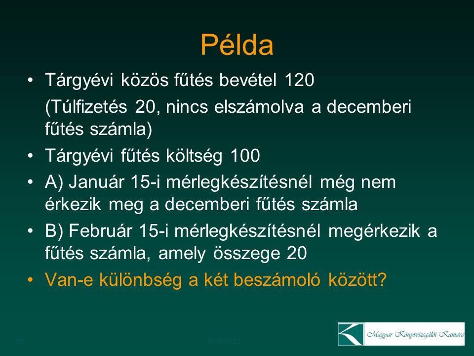 Példa Tárgyévi közös fűtés bevétel 120 (Túlfizetés 20, nincs elszámolva a decemberi fűtés számla) Tárgyévi fűtés költség 100 A) Január 15-i mérlegkész