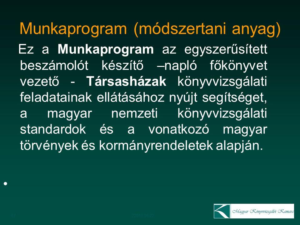 Munkaprogram (módszertani anyag) Ez a Munkaprogram az egyszerűsített beszámolót készítő –napló főkönyvet vezető - Társasházak könyvvizsgálati feladata