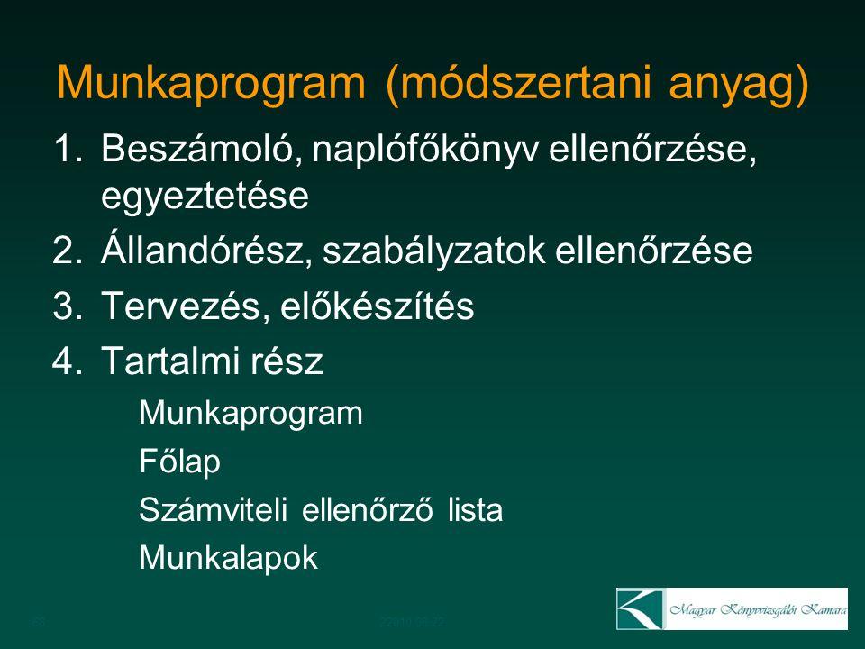 Munkaprogram (módszertani anyag) 1.Beszámoló, naplófőkönyv ellenőrzése, egyeztetése 2.Állandórész, szabályzatok ellenőrzése 3.Tervezés, előkészítés 4.