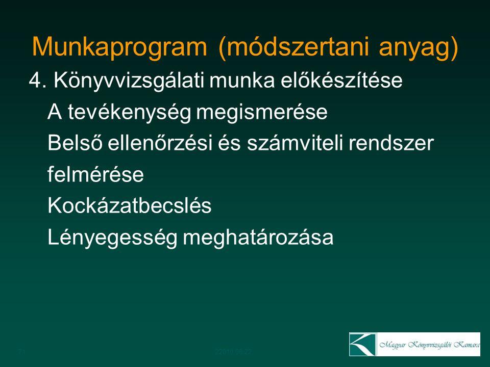 Munkaprogram (módszertani anyag) 4. Könyvvizsgálati munka előkészítése A tevékenység megismerése Belső ellenőrzési és számviteli rendszer felmérése Ko