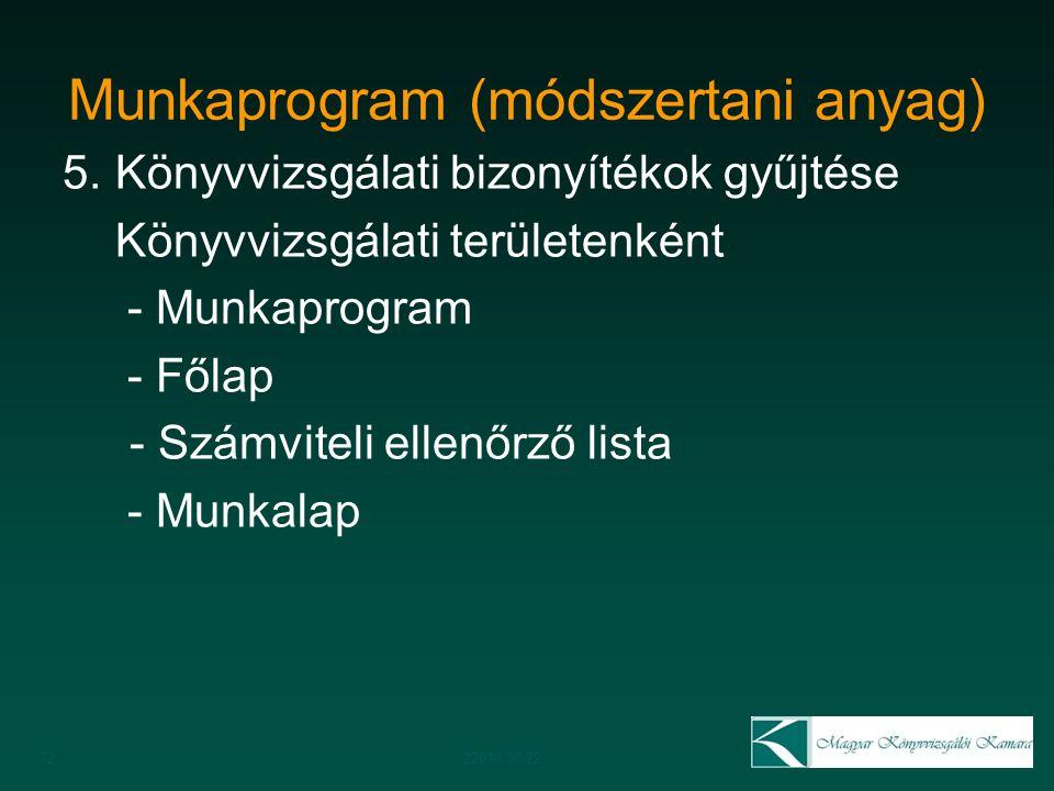 Munkaprogram (módszertani anyag) 5. Könyvvizsgálati bizonyítékok gyűjtése Könyvvizsgálati területenként - Munkaprogram - Főlap - Számviteli ellenőrző