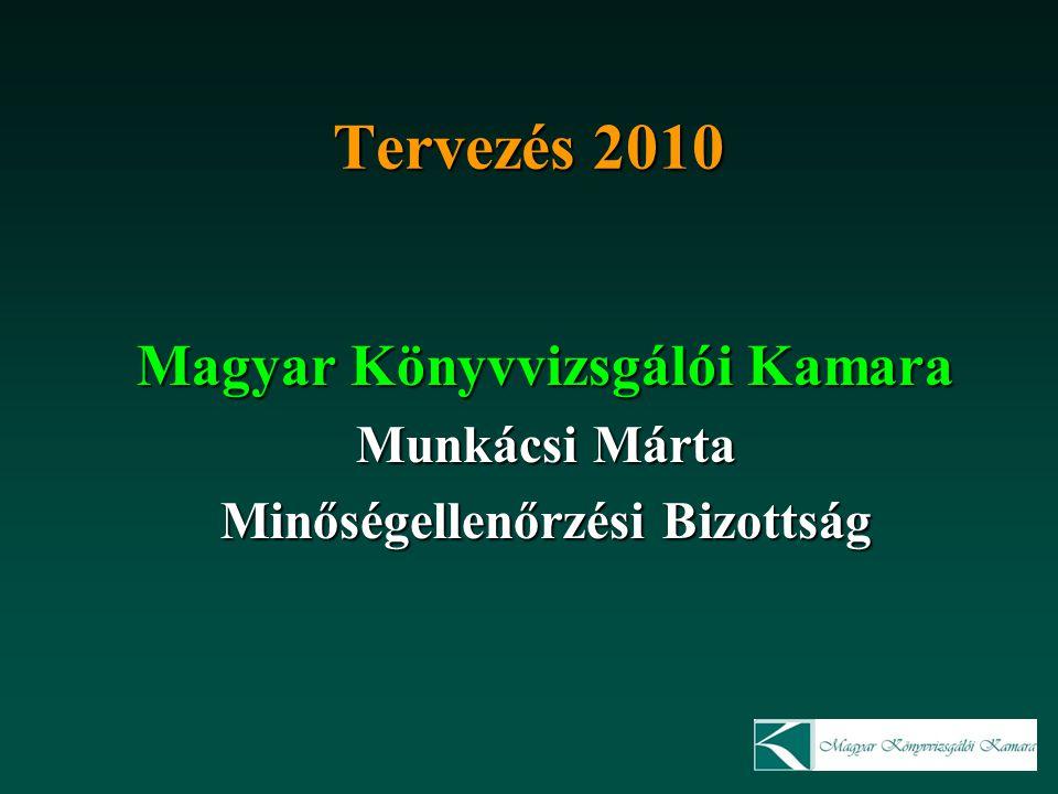 Tervezés 2010 Magyar Könyvvizsgálói Kamara Munkácsi Márta Minőségellenőrzési Bizottság