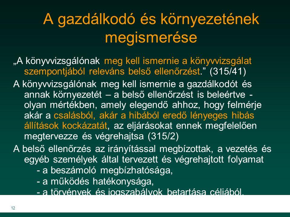 """MKVK MEB 2007 12 A gazdálkodó és környezetének megismerése """"A könyvvizsgálónak meg kell ismernie a könyvvizsgálat szempontjából releváns belső ellenőr"""