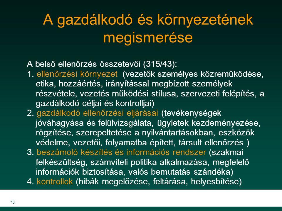 MKVK MEB 2007 13 A gazdálkodó és környezetének megismerése A belső ellenőrzés összetevői (315/43): 1. ellenőrzési környezet (vezetők személyes közremű
