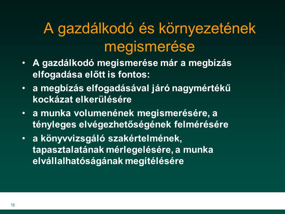 MKVK MEB 2007 18 A gazdálkodó és környezetének megismerése A gazdálkodó megismerése már a megbízás elfogadása előtt is fontos: a megbízás elfogadásáva