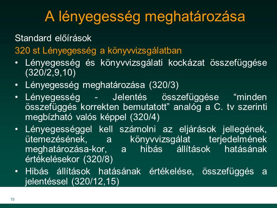 MKVK MEB 2007 19 A lényegesség meghatározása Standard előírások 320 st Lényegesség a könyvvizsgálatban Lényegesség és könyvvizsgálati kockázat összefü