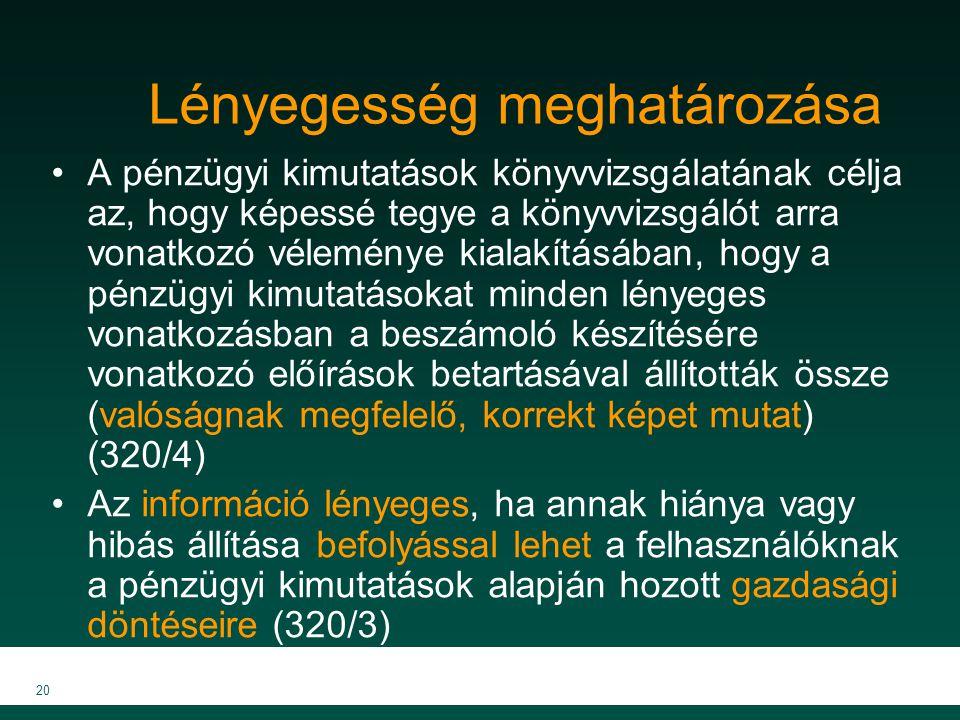 MKVK MEB 2007 20 Lényegesség meghatározása A pénzügyi kimutatások könyvvizsgálatának célja az, hogy képessé tegye a könyvvizsgálót arra vonatkozó véle