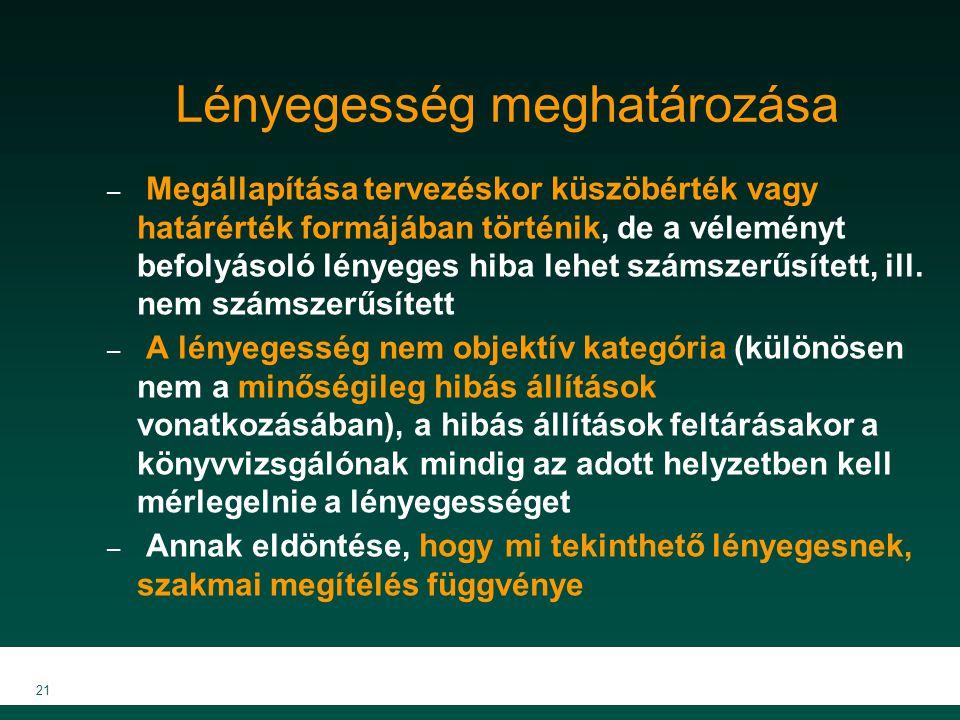 MKVK MEB 2007 21 Lényegesség meghatározása – Megállapítása tervezéskor küszöbérték vagy határérték formájában történik, de a véleményt befolyásoló lén
