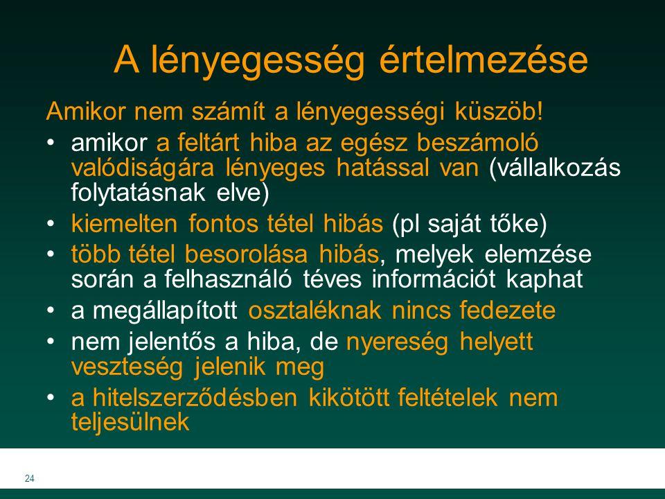 MKVK MEB 2007 24 A lényegesség értelmezése Amikor nem számít a lényegességi küszöb! amikor a feltárt hiba az egész beszámoló valódiságára lényeges hat