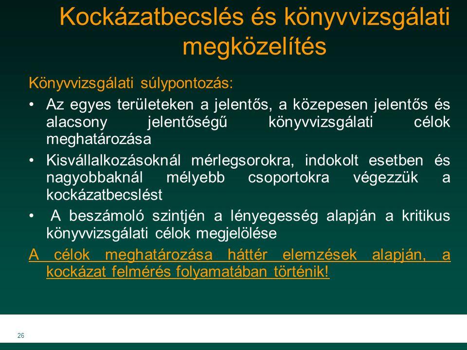 MKVK MEB 2007 26 Kockázatbecslés és könyvvizsgálati megközelítés Könyvvizsgálati súlypontozás: Az egyes területeken a jelentős, a közepesen jelentős é
