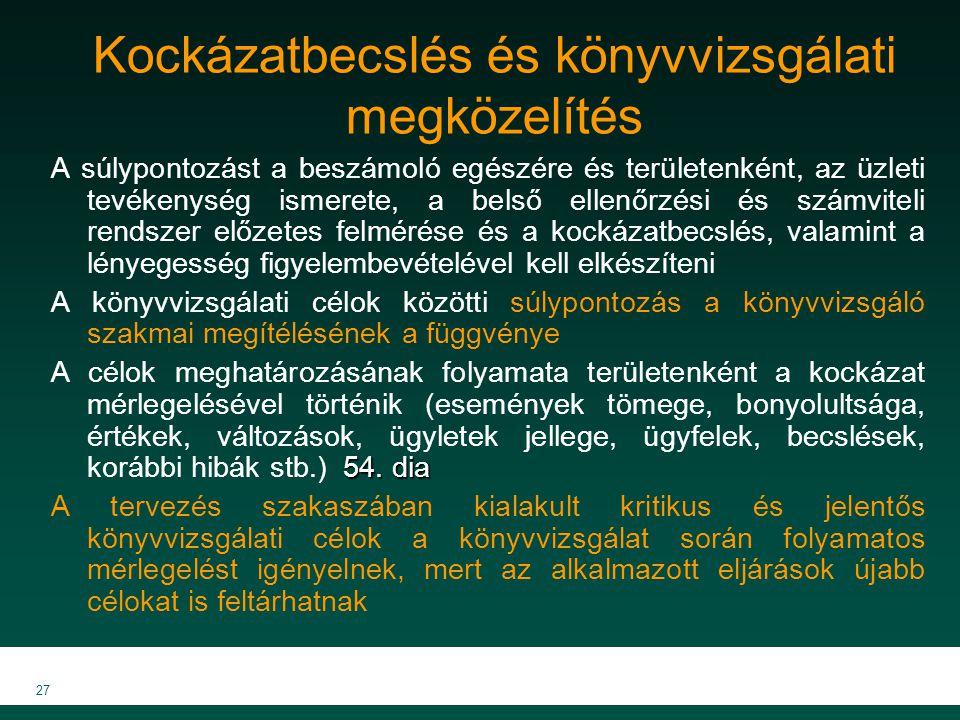 MKVK MEB 2007 27 Kockázatbecslés és könyvvizsgálati megközelítés A súlypontozást a beszámoló egészére és területenként, az üzleti tevékenység ismerete