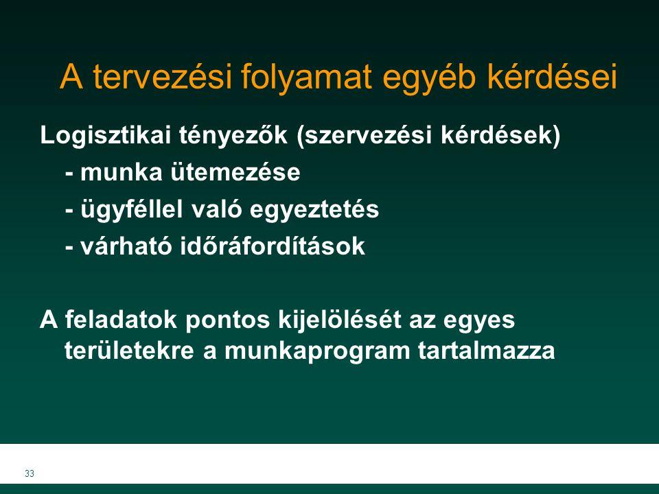 MKVK MEB 2007 33 A tervezési folyamat egyéb kérdései Logisztikai tényezők (szervezési kérdések) - munka ütemezése - ügyféllel való egyeztetés - várhat