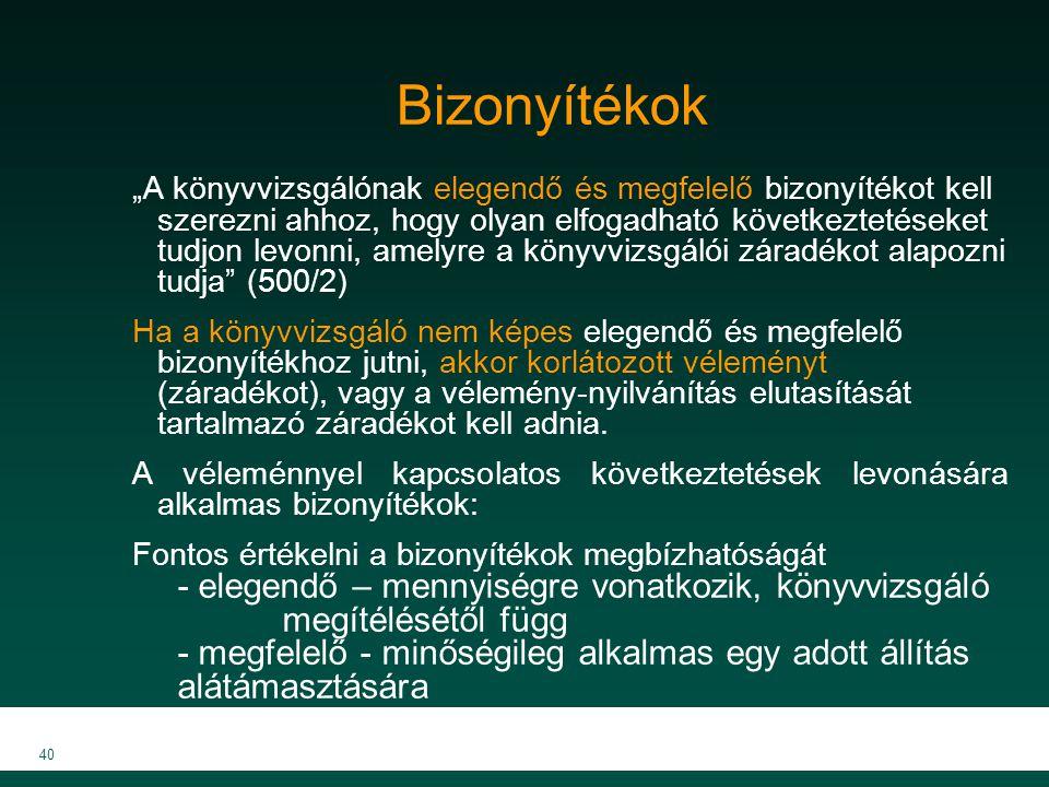 """MKVK MEB 2007 40 Bizonyítékok """"A könyvvizsgálónak elegendő és megfelelő bizonyítékot kell szerezni ahhoz, hogy olyan elfogadható következtetéseket tud"""