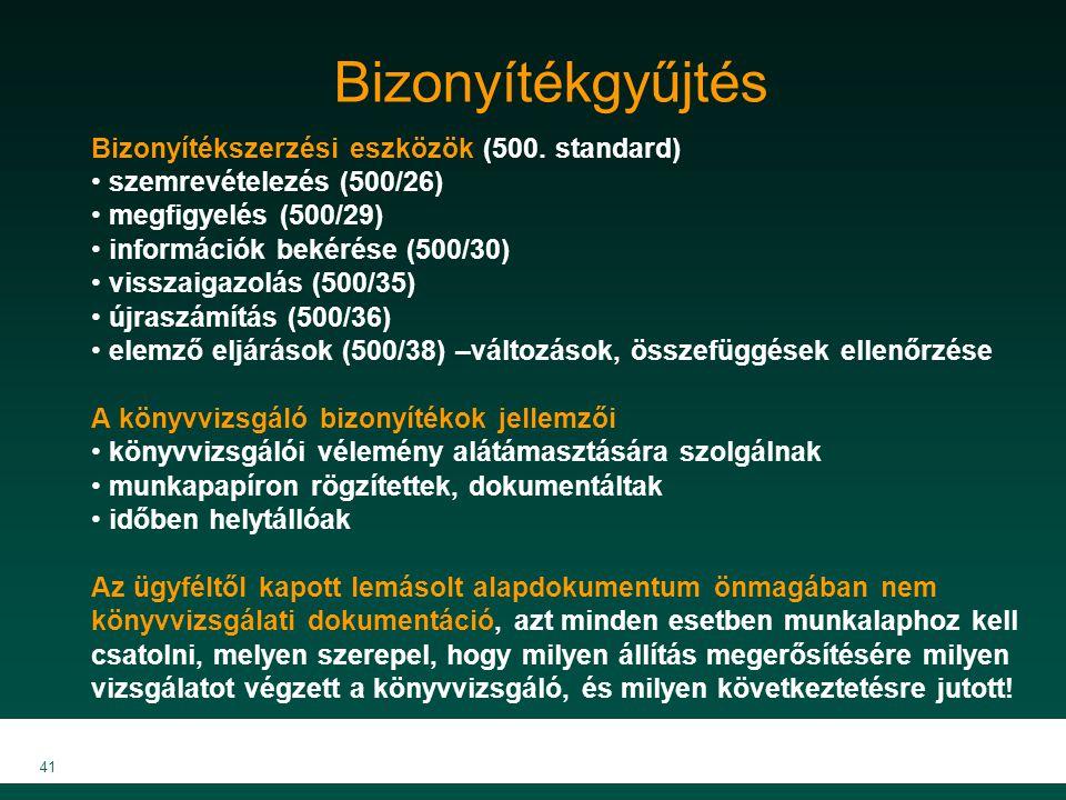 MKVK MEB 2007 41 Bizonyítékgyűjtés Bizonyítékszerzési eszközök (500. standard) szemrevételezés (500/26) megfigyelés (500/29) információk bekérése (500