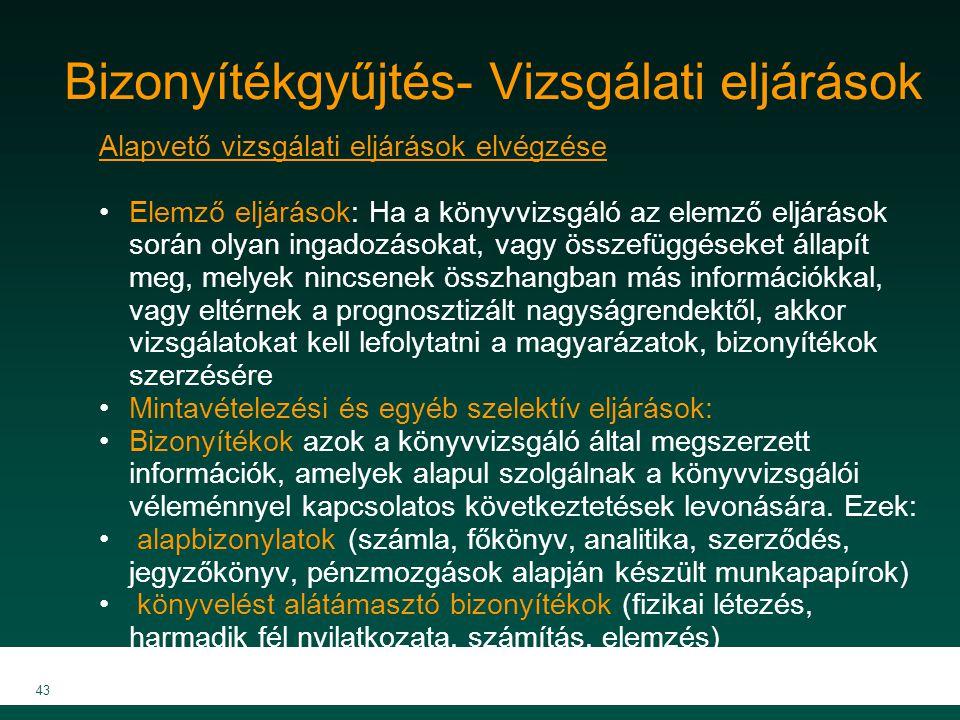 MKVK MEB 2007 43 Bizonyítékgyűjtés- Vizsgálati eljárások Alapvető vizsgálati eljárások elvégzése Elemző eljárások: Ha a könyvvizsgáló az elemző eljárá