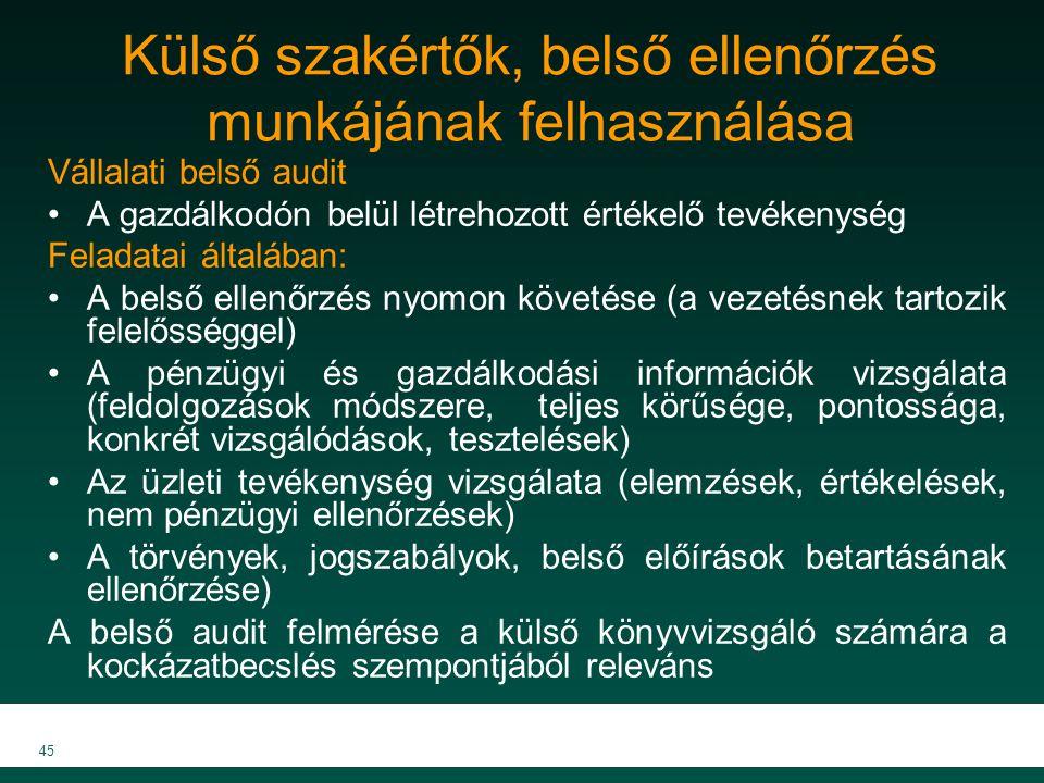 MKVK MEB 2007 45 Külső szakértők, belső ellenőrzés munkájának felhasználása Vállalati belső audit A gazdálkodón belül létrehozott értékelő tevékenység