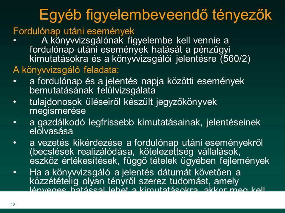 MKVK MEB 2007 48 Egyéb figyelembeveendő tényezők Fordulónap utáni események A könyvvizsgálónak figyelembe kell vennie a fordulónap utáni események hat