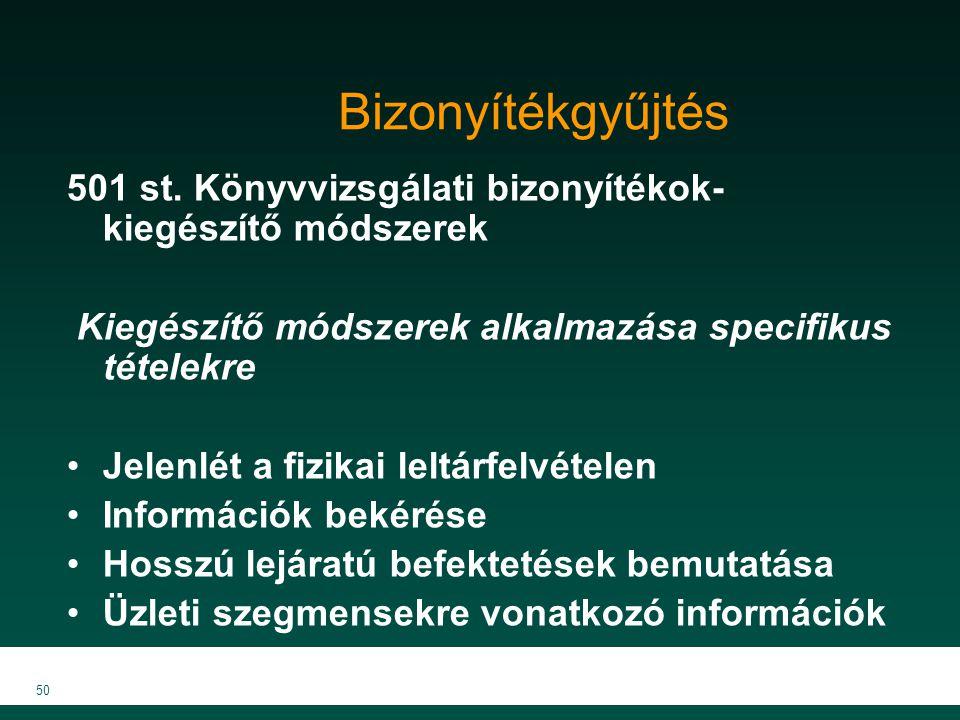 MKVK MEB 2007 50 Bizonyítékgyűjtés 501 st. Könyvvizsgálati bizonyítékok- kiegészítő módszerek Kiegészítő módszerek alkalmazása specifikus tételekre Je