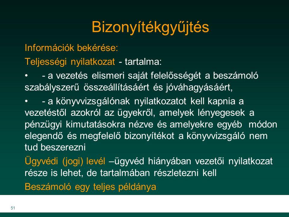 MKVK MEB 2007 51 Bizonyítékgyűjtés Információk bekérése: Teljességi nyilatkozat - tartalma: - a vezetés elismeri saját felelősségét a beszámoló szabál