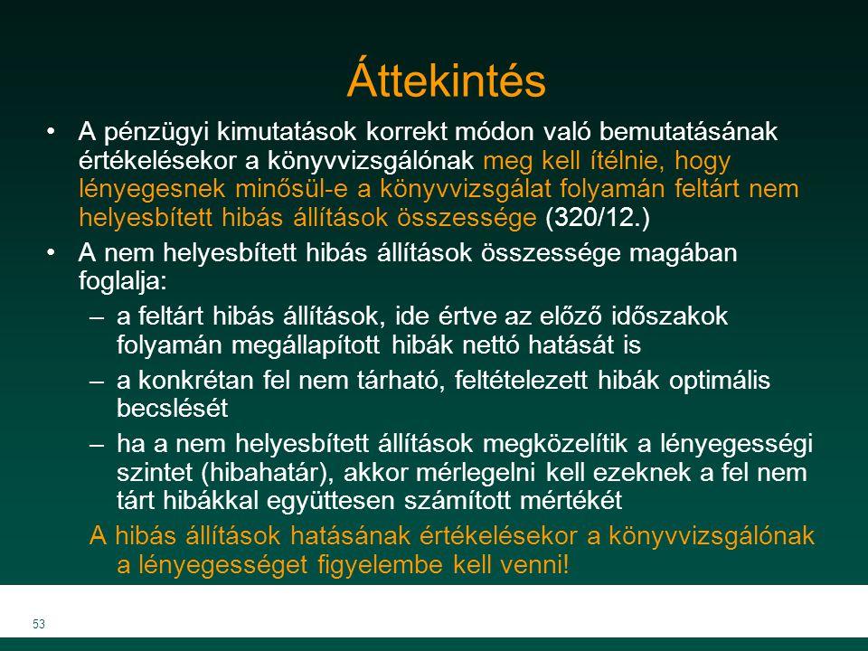 MKVK MEB 2007 53 Áttekintés A pénzügyi kimutatások korrekt módon való bemutatásának értékelésekor a könyvvizsgálónak meg kell ítélnie, hogy lényegesne