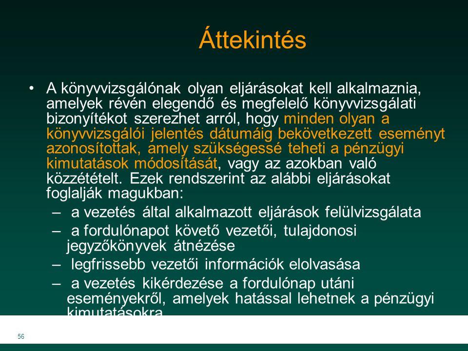 MKVK MEB 2007 56 Áttekintés A könyvvizsgálónak olyan eljárásokat kell alkalmaznia, amelyek révén elegendő és megfelelő könyvvizsgálati bizonyítékot sz