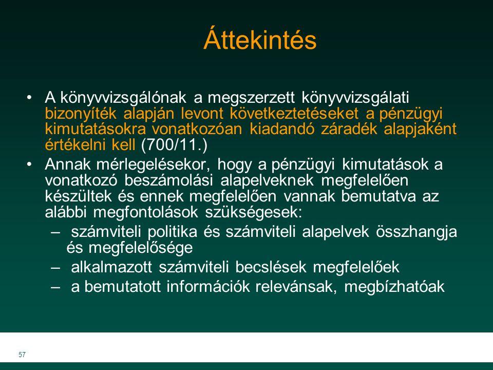 MKVK MEB 2007 57 Áttekintés A könyvvizsgálónak a megszerzett könyvvizsgálati bizonyíték alapján levont következtetéseket a pénzügyi kimutatásokra vona