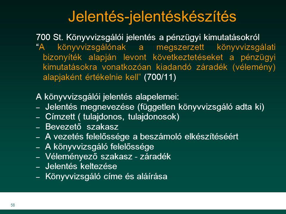 """MKVK MEB 2007 58 Jelentés-jelentéskészítés 700 St. Könyvvizsgálói jelentés a pénzügyi kimutatásokról """"A könyvvizsgálónak a megszerzett könyvvizsgálati"""