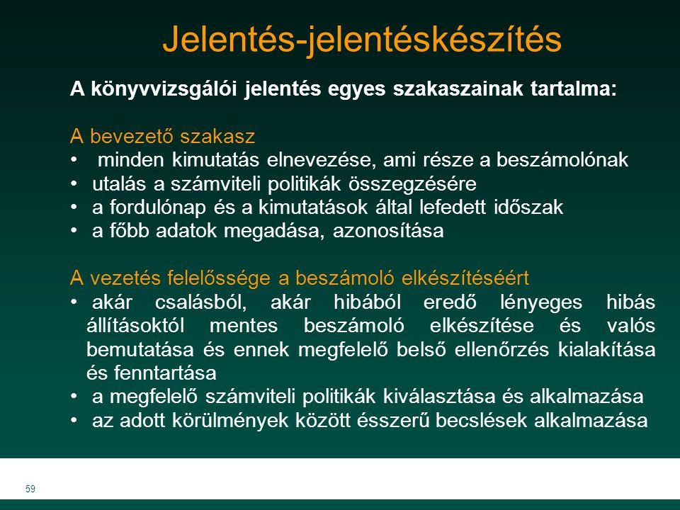 MKVK MEB 2007 59 Jelentés-jelentéskészítés A könyvvizsgálói jelentés egyes szakaszainak tartalma: A bevezető szakasz minden kimutatás elnevezése, ami