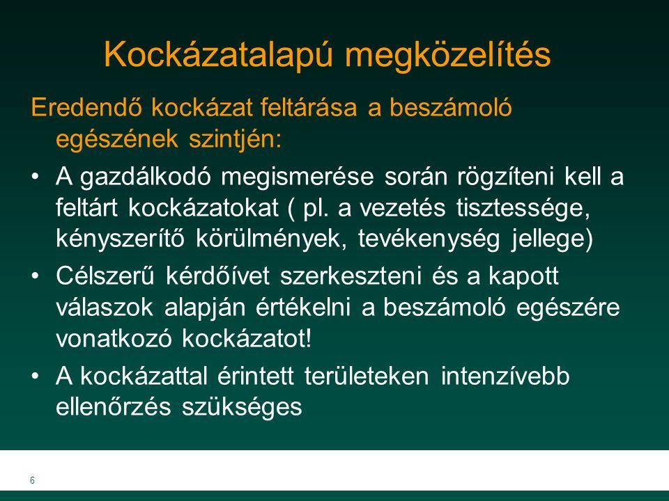 MKVK MEB 2007 6 Kockázatalapú megközelítés Eredendő kockázat feltárása a beszámoló egészének szintjén: A gazdálkodó megismerése során rögzíteni kell a
