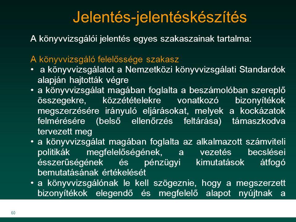 MKVK MEB 2007 60 Jelentés-jelentéskészítés A könyvvizsgálói jelentés egyes szakaszainak tartalma: A könyvvizsgáló felelőssége szakasz a könyvvizsgálat