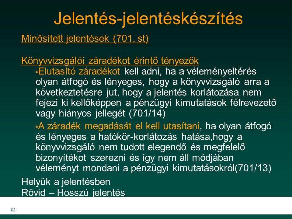 MKVK MEB 2007 62 Jelentés-jelentéskészítés Minősített jelentések (701. st) Könyvvizsgálói záradékot érintő tényezők Elutasító záradékot kell adni, ha