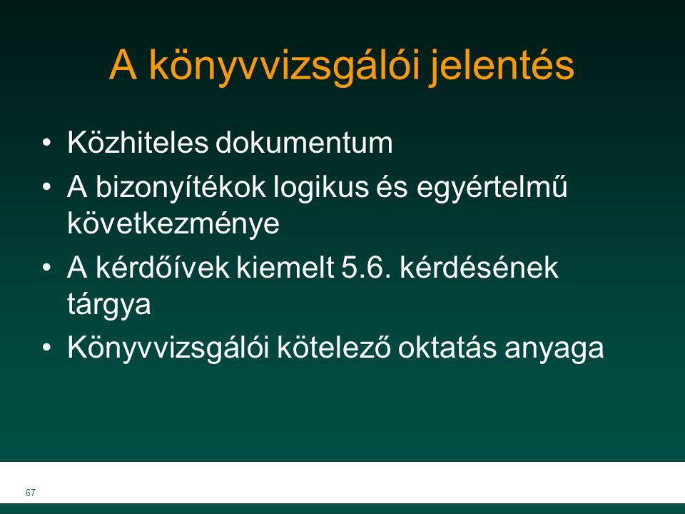 MKVK MEB 2007 67 A könyvvizsgálói jelentés Közhiteles dokumentum A bizonyítékok logikus és egyértelmű következménye A kérdőívek kiemelt 5.6. kérdéséne