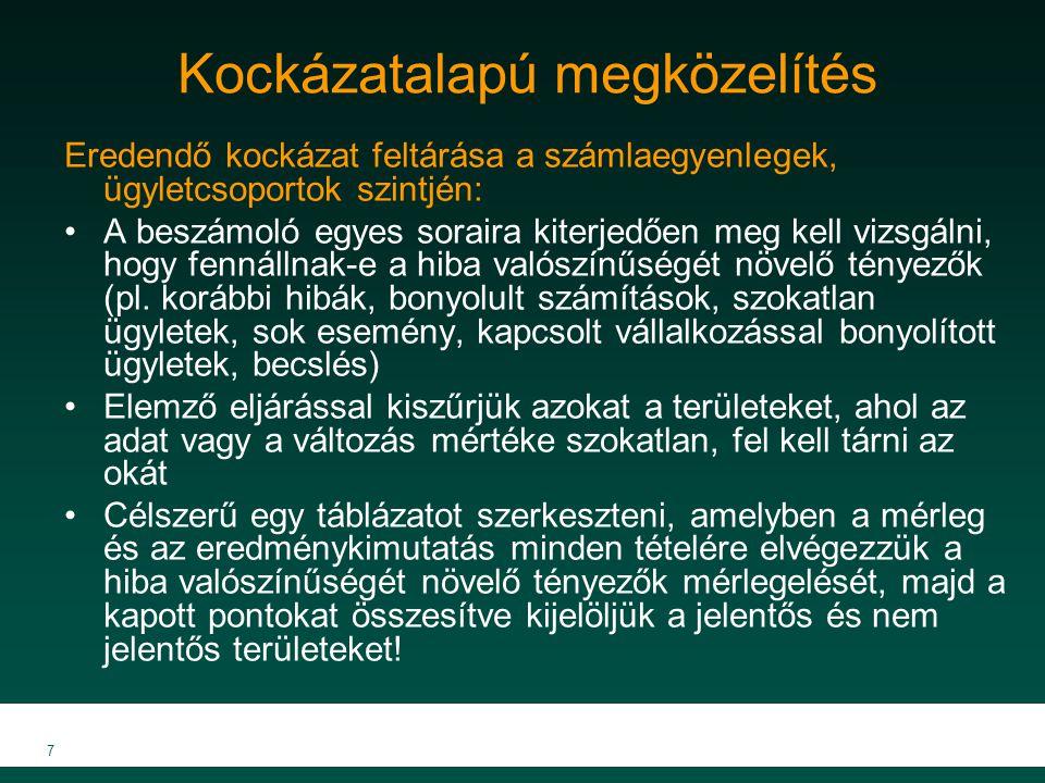 MKVK MEB 2007 7 Kockázatalapú megközelítés Eredendő kockázat feltárása a számlaegyenlegek, ügyletcsoportok szintjén: A beszámoló egyes soraira kiterje