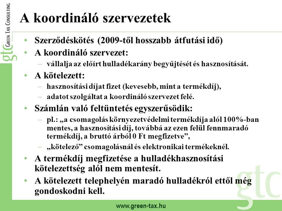 www.green-tax.hu A koordináló szervezetek Szerződéskötés (2009-től hosszabb átfutási idő) A koordináló szervezet: –vállalja az előírt hulladékarány be