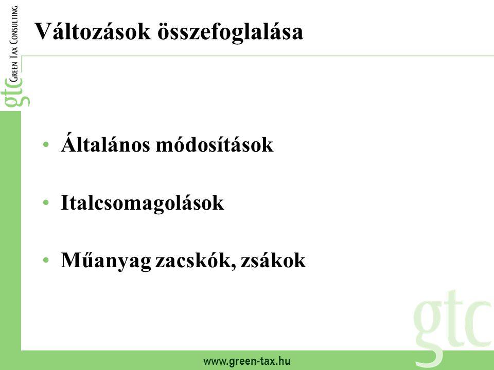 www.green-tax.hu Változások összefoglalása Általános módosítások Italcsomagolások Műanyag zacskók, zsákok