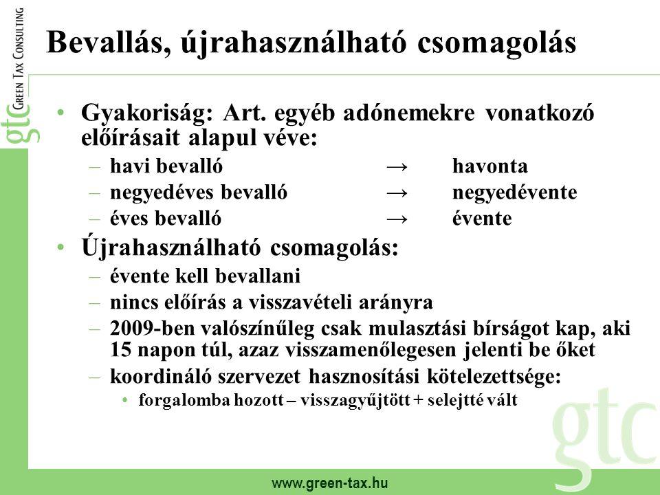 www.green-tax.hu Bevallás, újrahasználható csomagolás Gyakoriság: Art. egyéb adónemekre vonatkozó előírásait alapul véve: –havi bevalló→havonta –negye