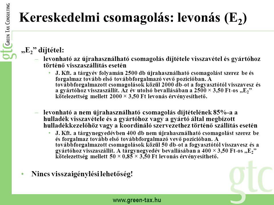 """www.green-tax.hu Kereskedelmi csomagolás: levonás (E 2 ) """"E 2 """" díjtétel: –levonható az újrahasználható csomagolás díjtétele visszavétel és gyártóhoz"""